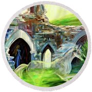 The Magic And Majesty Of Corfe Castle Round Beach Towel