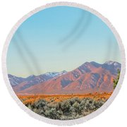 The Magic Light Of Taos  Round Beach Towel