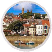 The Magic Of St. Peter Port In Guernsey Round Beach Towel