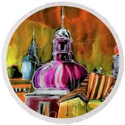 The Magical Rooftops Of Prague 01 Round Beach Towel