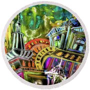 The Magical Rooftops Of Prague 02 Round Beach Towel by Miki De Goodaboom