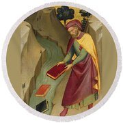 The Magus Hermogenes Casting His Magic Books Into The Water Round Beach Towel
