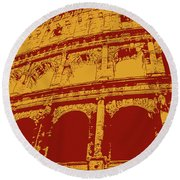 The Majestic Colosseum Of Rome Round Beach Towel