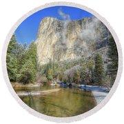 The Majestic El Capitan Yosemite National Park Round Beach Towel