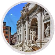 The Majesty Of The Trevi Fountain In Rome Round Beach Towel