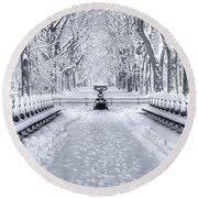 The Mall In Snow Central Park Round Beach Towel