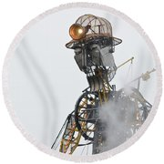 The Man Engine And His Man Round Beach Towel