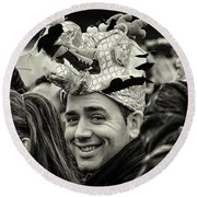 The Man In The Dragon Hat Round Beach Towel