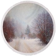 The Man In The Snowstorm Round Beach Towel by Tara Turner