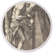 The Man Of Sorrows At The Foot Of The Cross Round Beach Towel