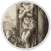 The Man Of Sorrows By The Column With The Virgin And St. John  Round Beach Towel