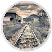 The Man On The Tracks Round Beach Towel