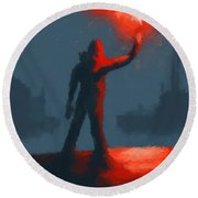 The Man With The Flare Round Beach Towel