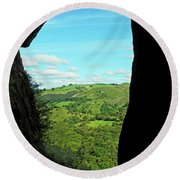 The Manifold Valley From Thor's Cave Round Beach Towel