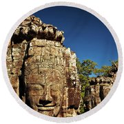 The Many Faces Of Bayon Temple, Angkor Thom, Angkor Wat Temple Complex, Cambodia Round Beach Towel