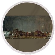 The Maple Sugar Camp Turning Off Round Beach Towel