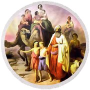 The March Of Abraham Round Beach Towel