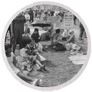 The March On Washington   At Washington Monument Grounds Round Beach Towel