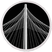 The Margaret Hunt Hill Bridge In Dallas Round Beach Towel by Robert Bellomy