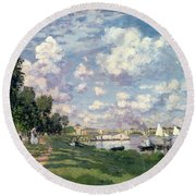 The Marina At Argenteuil Round Beach Towel by Claude Monet