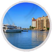 The Marina Sarasota Fl Round Beach Towel