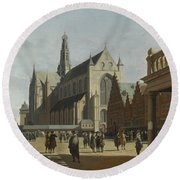 The Market Place And The Grote Kerk At Haarlem Round Beach Towel