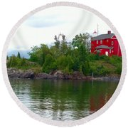 The Marquette Lighthouse Round Beach Towel