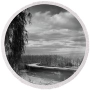 The Marsh-in Black And White Round Beach Towel