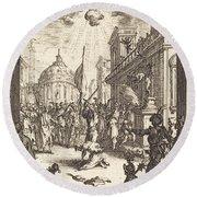 The Martyrdom Of Saint James Major Round Beach Towel