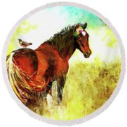 The Marvelous Mare Round Beach Towel