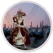 The Masks Of Venice Carnival Round Beach Towel