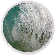 The Massive Backwash Barrel  Round Beach Towel