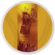 The Mayflower And The Speedwell Leave England In 1620 Round Beach Towel