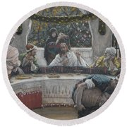 The Meal In The House Of The Pharisee Round Beach Towel
