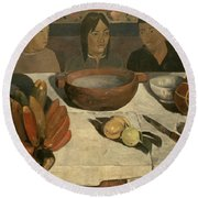 The Meal Round Beach Towel by Paul Gauguin