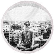 The Meditating Youth Round Beach Towel