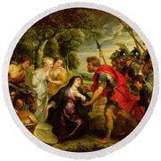 The Meeting Of David And Abigail Round Beach Towel