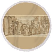 The Meeting Of San Carlo Borromeo And San Filippo Neri Round Beach Towel