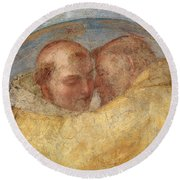 The Meeting Of St Francis And St Dominic  Round Beach Towel