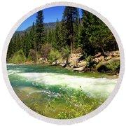 The Merced River In Yosemite Round Beach Towel