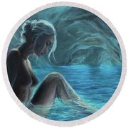 The Mermaid Of The Blue Cave Round Beach Towel