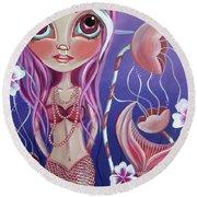 The Mermaid's Garden Round Beach Towel