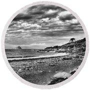The Mewstone, Wembury Bay, Devon #view Round Beach Towel