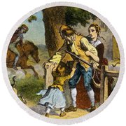 The Midnight Ride Of Paul Revere 1775 Round Beach Towel