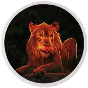 The Mighty Lion Round Beach Towel