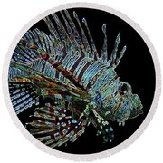 The Mighty Lion Fish Round Beach Towel