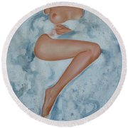 The Milk Bath Round Beach Towel