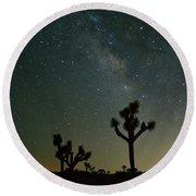 The Milky Way And Joshua Trees Round Beach Towel