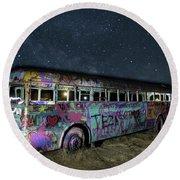 The Milky Way Bus Round Beach Towel