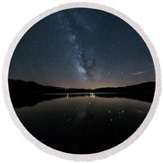 The Milky Way Over The Minho River Round Beach Towel